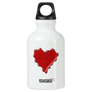Ambarino. Sello rojo de la cera del corazón con el Botella De Agua