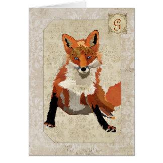 Amber Fox Monogram Notecard Card