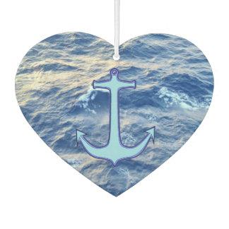 Ambientador Corazón del azul del ancla de la agua de mar