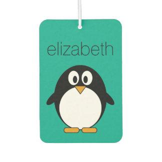 Ambientador esmeralda linda y negro del pingüino del dibujo
