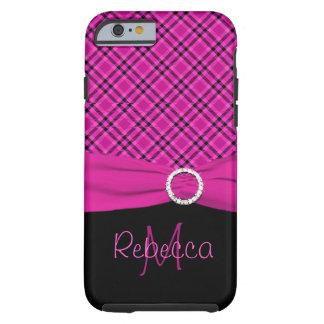 Ambiente negro y rosado del monograma de la tela funda para iPhone 6 tough