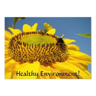 ¡Ambiente sano! Girasoles de las invitaciones del Invitación 12,7 X 17,8 Cm