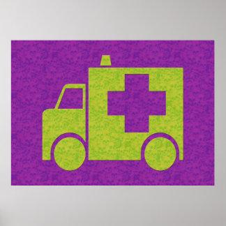 Ambulancia fondo calavera póster
