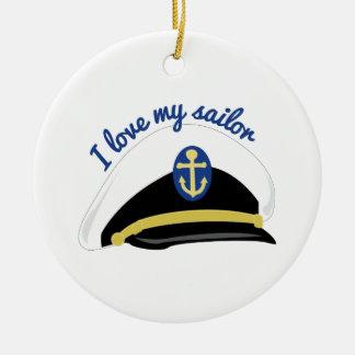Ame a mi marinero adorno redondo de cerámica