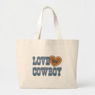 Ame a mi vaquero bolsa tela grande