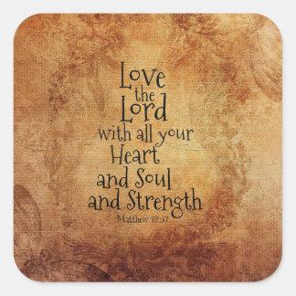 """""""Ame al señor"""" escritura Matthew 22, vintage Pegatina Cuadrada"""