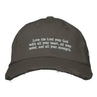 """""""Ame al señor su dios con el casquillo de todo su Gorras De Beisbol Bordadas"""
