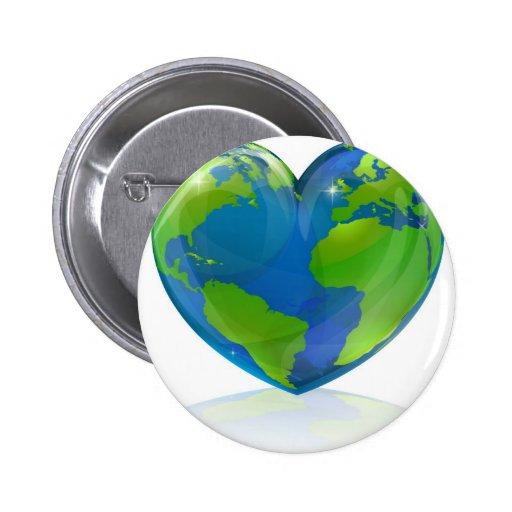 Ame el concepto del corazón del mundo pin