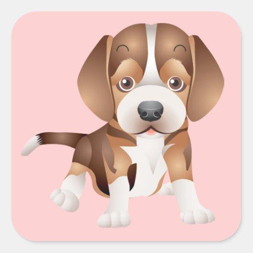 Ame el pegatina/el sello del rosa del perro de