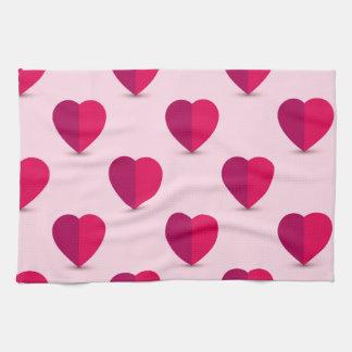 Ame la toalla de cocina, sistema rojo del rosa de