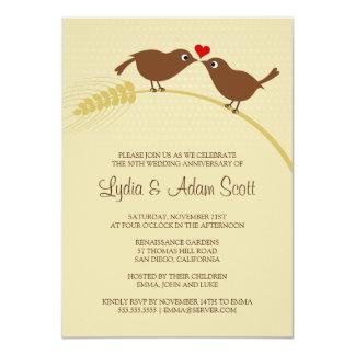 """Ame los pájaros 4,5"""" x 6,25"""" aniversario de boda invitación 11,4 x 15,8 cm"""