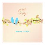 Ame los pájaros/los flores coloridos/el fondo rosa invitacion personal