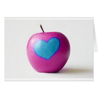 Ame mi manzana tarjeta de felicitación