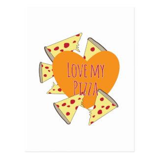 Ame mi pizza tarjeta postal
