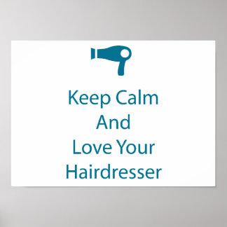 Ame su arte del salón del peluquero póster