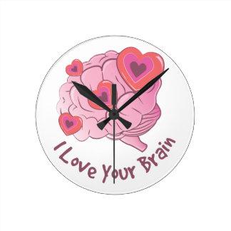 Ame su cerebro reloj redondo mediano