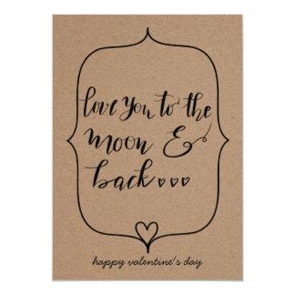 Ámele a la luna y al día de San Valentín trasero Invitación 12,7 X 17,8 Cm