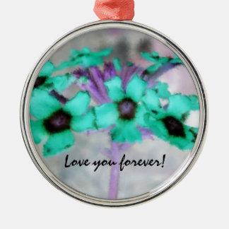 ¡Ámele para siempre! Ornamento floral Adorno Navideño Redondo De Metal