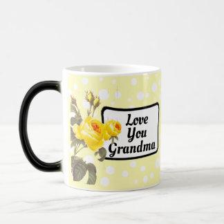 Ámele taza de café punteada polca amarilla de la