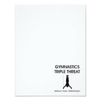 Amenaza SUPERIOR del triple de la gimnasia Invitación 10,8 X 13,9 Cm