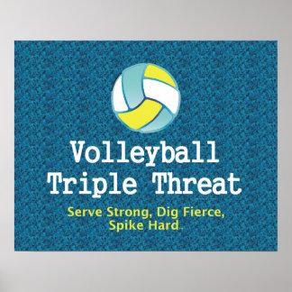Amenaza SUPERIOR del triple del voleibol Póster