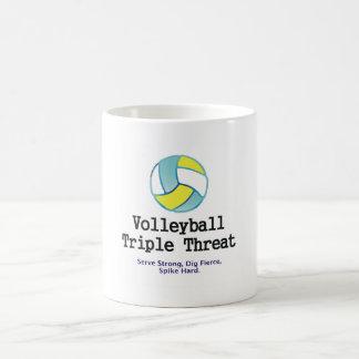 Amenaza SUPERIOR del triple del voleibol Taza Básica Blanca