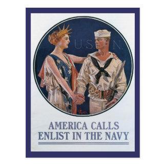 América llama la postal de la Segunda Guerra