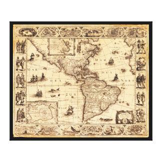 América, mapa de Noviter Delineata (1622) Lienzo