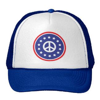 América roja, signo de la paz blanco, azul gorras de camionero