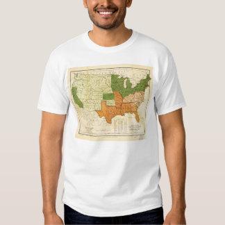 Americano 1857 libre y mapa auxiliar de los camiseta