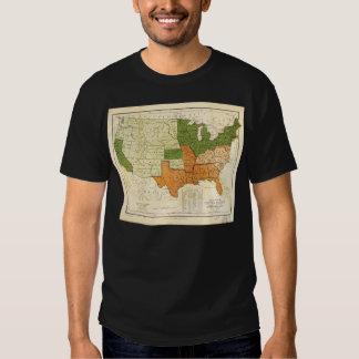 Americano 1857 libre y mapa auxiliar de los camisetas