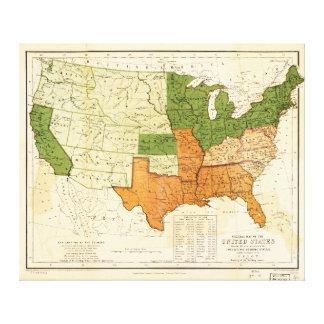 Americano 1857 libre y mapa auxiliar de los impresión en lona