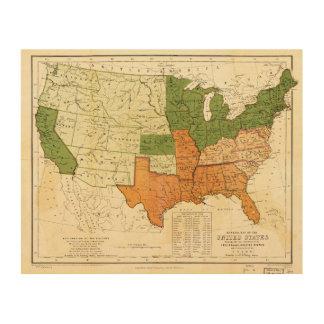 Americano 1857 libre y mapa auxiliar de los impresiones en madera
