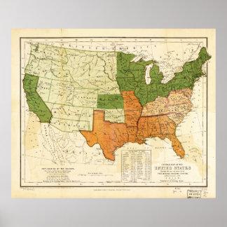 Americano 1857 libre y mapa auxiliar de los póster