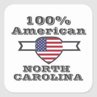Americano del 100%, Carolina del Norte Pegatina Cuadrada