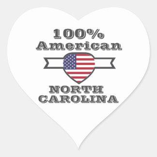 Americano del 100%, Carolina del Norte Pegatina En Forma De Corazón