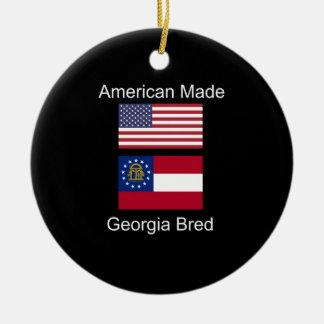 """""""Americano llevado. Georgia crió"""" banderas y Adorno Navideño Redondo De Cerámica"""