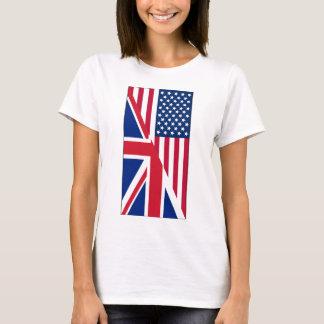 Americano y bandera de Union Jack Camiseta