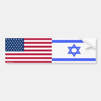 Americano y israelí señala a la pegatina para el