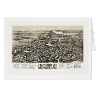 Amesbury mapa panorámico del mA - 1914 Tarjetón