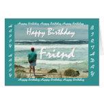 AMIGO - feliz cumpleaños - hombre y olas oceánicas Tarjeton