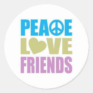 Amigos del amor de la paz pegatina redonda