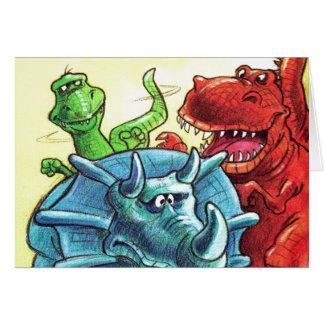 Amigos del dinosaurio tarjeta de felicitación