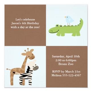 Amigos del safari invitación 13,3 cm x 13,3cm