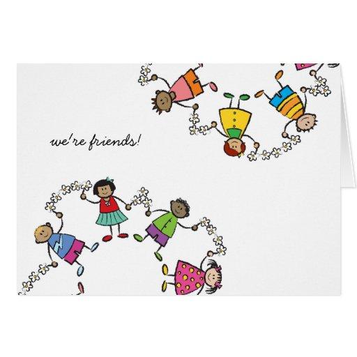 Amigos felices lindos de los niños del dibujo anim tarjeta | Zazzle
