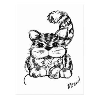 Amigos inverosímiles gato y ratón postal