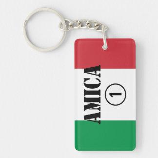 Amigos italianos: Uno de Amica Numero Llavero Rectangular Acrílico A Doble Cara