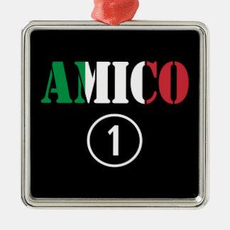 Amigos italianos: Uno de Amico Numero Adorno Cuadrado Plateado