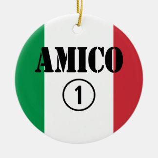 Amigos italianos: Uno de Amico Numero Ornamentos De Navidad
