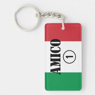 Amigos italianos: Uno de Amico Numero Llavero Rectangular Acrílico A Una Cara